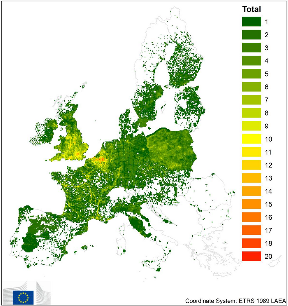 Distribution of the 'Union concern' invasive alien species at grid 10x10 km level in EU